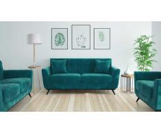 Salon en velours avec canapé 3 places + 2 pl + fauteuil - Stockolm