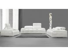Salon cuir capitonné - Nobel - canapé 3 places + 2 places + fauteuil