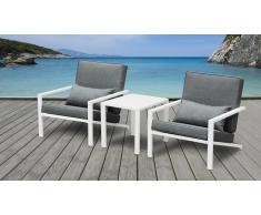 Salon de jardin aluminium blanc 2 fauteuils + table basse - Teapa