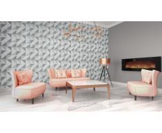 Salon design canapé 3 places + 2 pl + fauteuil - Rissa