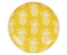 Assiette à dessert en faïence orange motif ananas