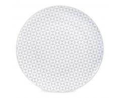 Assiette plate en porcelaine grise D 27 cm GÉOMÉTRIK