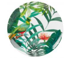 Assiette à dessert en porcelaine imprimé tropical