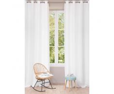 Rideau à œillets en lin lavé blanc 130 x 300 cm