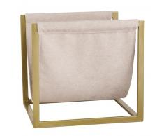 Porte-revues et coton beige et métal doré
