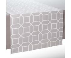 Chemin de table en coton gris L 150 cm VERA