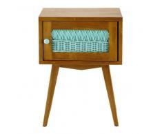 Table de chevet vintage en bois et rotin vert d'eau L 43 cm Florida