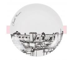 Assiette plate en porcelaine blanche imprimé toits Chantal Thomass