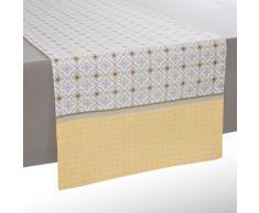 Chemin de table en coton jaune/gris L 150 cm OEIRAS