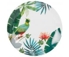Assiette plate en porcelaine imprimé tropical