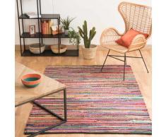 Tapis tressé en coton multicolore 140 x 200 cm ROULOTTE