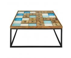 Table basse en manguier massif et verre Scrabble
