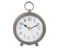 Horloge à poser en métal gris