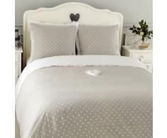 Parure de lit à pois 220 x 240 cm en coton grise DOUCEUR