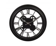 Horloge à rouages noire