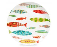 Assiette plate en porcelaine motifs poissons LAGON