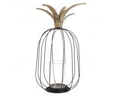 Lanterne ananas en verre et métal