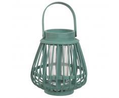 Lanterne en bambou vert et verre