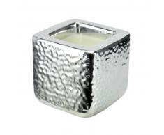 Bougie cube en céramique argent 8 x 8 cm