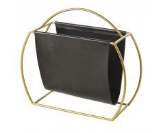 Porte-revues en cuir de chèvre noir et métal doré