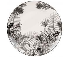 Assiette plate en porcelaine noire et blanche imprimée