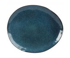 Assiette plate en faïence bleu pétrole
