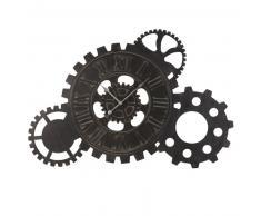 Horloge rouages en métal noir