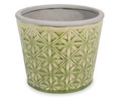 Cache-pot en céramique verte H.12cm CALIENTE