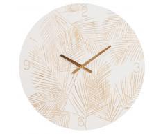 Horloge en paulownia imprimé feuillages