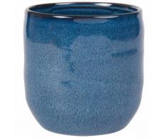 Cache-pot en céramique bleue H16