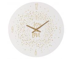 Horloge blanche imprimée confettis dorés