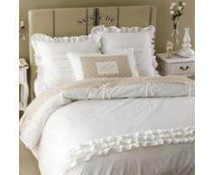 Parure de lit en coton blanche 220 x 240 cm SANS SOUCI