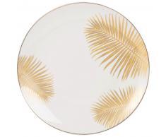 Assiette plate en porcelaine ivoire imprimé palmiers