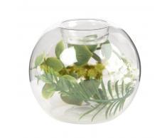 Bougeoir bocal en verre et décor plantes artificielles