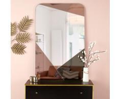 Miroir rectangulaire en verre fumé et cuivré 77x120