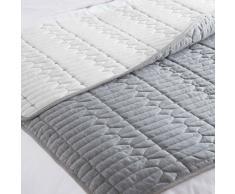 Couvre-lit matelassé gris/blanc 125 x 150 cm ELLY