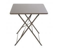 Table de jardin pliante en métal taupe 2 personnes L70 Guinguette