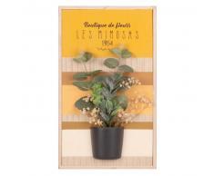 Tableau en paulownia imprimé et plante artificielle 22x28