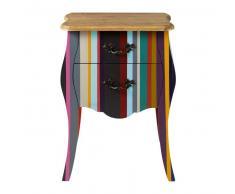 Table de chevet à rayures en bois de paulownia multicolore L 45 cm Néon