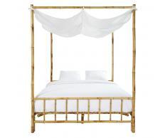 Lit à baldaquin 160x200 en bambou et tissu blanc Coconut