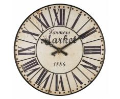 Horloge en métal noir vieilli D.120cm FARMERS MARKET