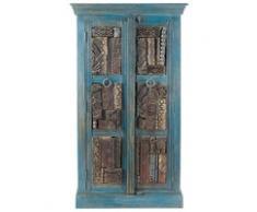 Armoire en bois recyclé bleue effet vieilli Jodhpur