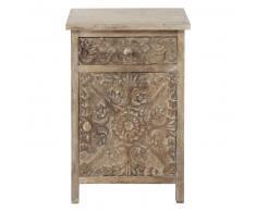 Table de chevet sculptée avec tiroir en manguier massif blanchi L 42 cm Himalaya