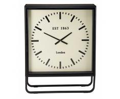 Horloge à poser en métal noir BILLY