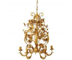 Lustre 6 branches en métal doré effet vieilli D.53cm BOUDOIR