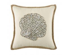 Coussin écru en jute et coton motif coquillage en perles 45x45