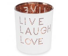 Photophore en verre blanc H 8 cm LIVE LAUGH