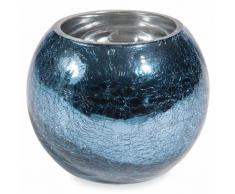 Photophore effet craquelé en verre bleu H 10 cm MILORD