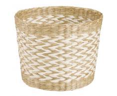 Cache-pot en fibre végétale blanche H13