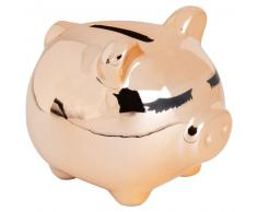 Statuette cochon en céramique dorée H27